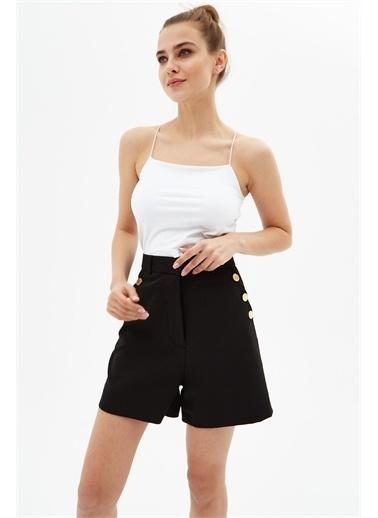 Pattaya Pattaya Kadın Düğme Detaylı Kumaş Cepli Kumaş Mini Şort P21S201-0771 Siyah